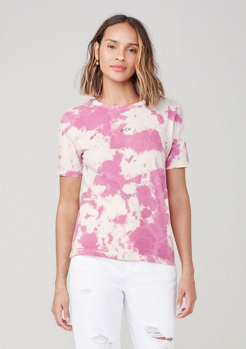 Camiseta Tie Dye Com Estampa - Rosa