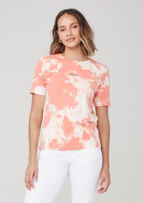 Camiseta Tie Dye Com Estampa - Laranja
