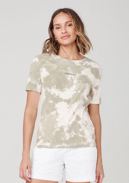 Camiseta Tie Dye Com Estampa - Verde