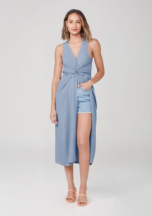 Vestido Midi Com Decote V E Fenda Frontal - Azul