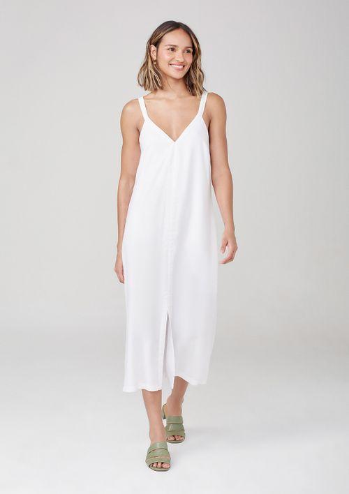 Vestido Midi Com Decote V Em Viscose - Branco