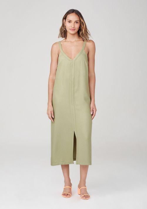 Vestido Midi Com Decote V Em Viscose - Verde