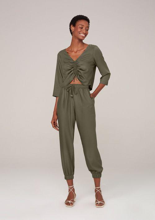 Blusa Com Amarração Em Viscose Creponada - Verde