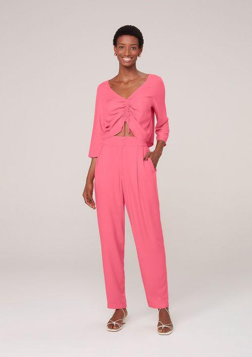 Blusa Com Amarração Em Viscose Creponada - Rosa