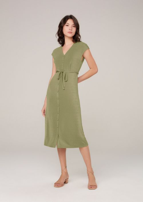 Vestido Midi Em Malha Com Amarração - Verde