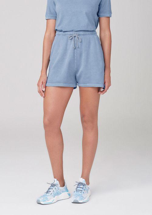 Shorts Em Moletom Com Bolsos - Azul