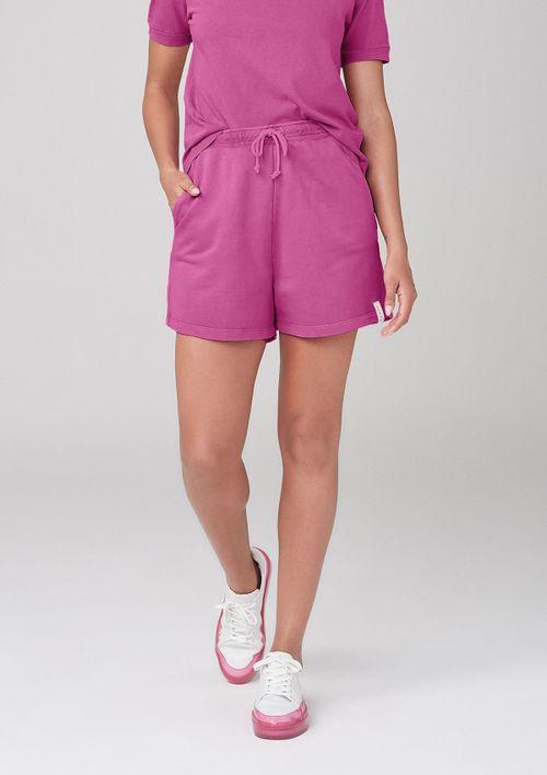 Shorts Em Moletom Com Bolsos - Rosa