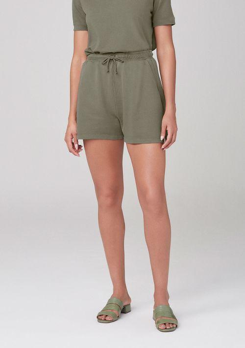 Shorts Em Moletom Com Bolsos - Verde