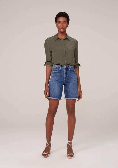 Bermuda Jeans Em Eco Denim - Azul