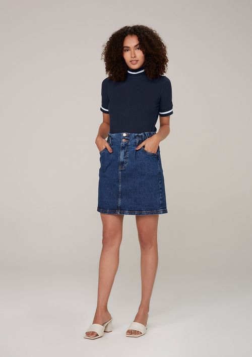 Saia Jeans Em Eco Denim - Azul