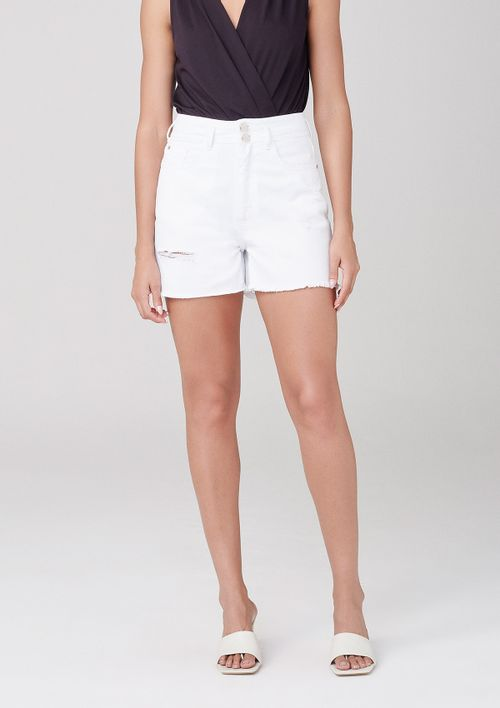 Shorts De Sarja Com Cintura Alta - Branco