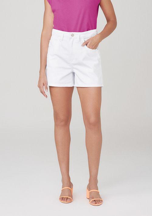 Shorts Cintura Alta Em Sarja - Branco