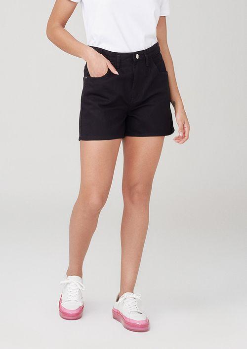 Shorts Cintura Alta Em Sarja - Preto