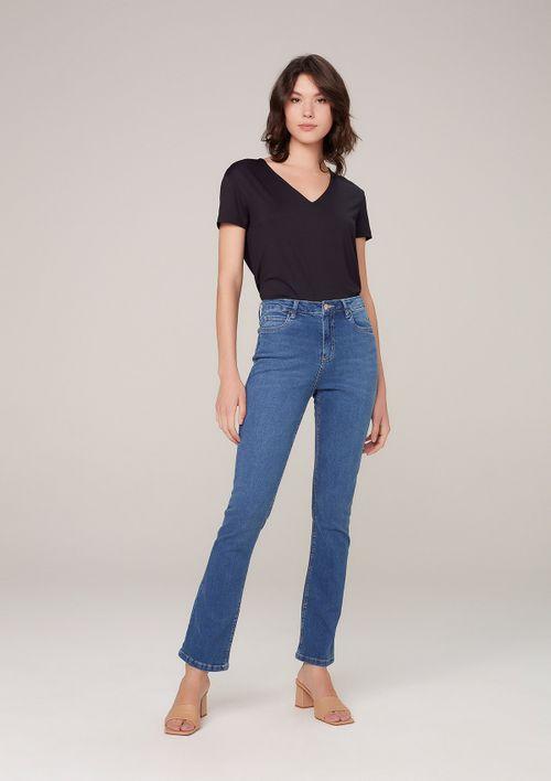Calça Jeans Bootcut Petit Cintura Média - Azul