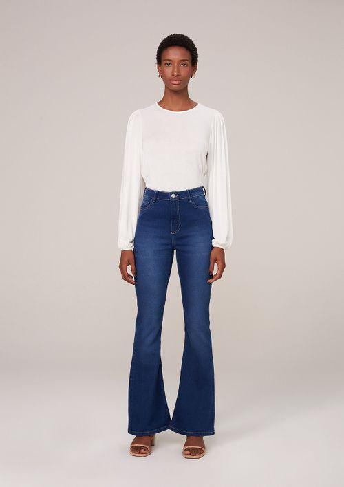 Calça Jeans Flare Com Elastano - Azul