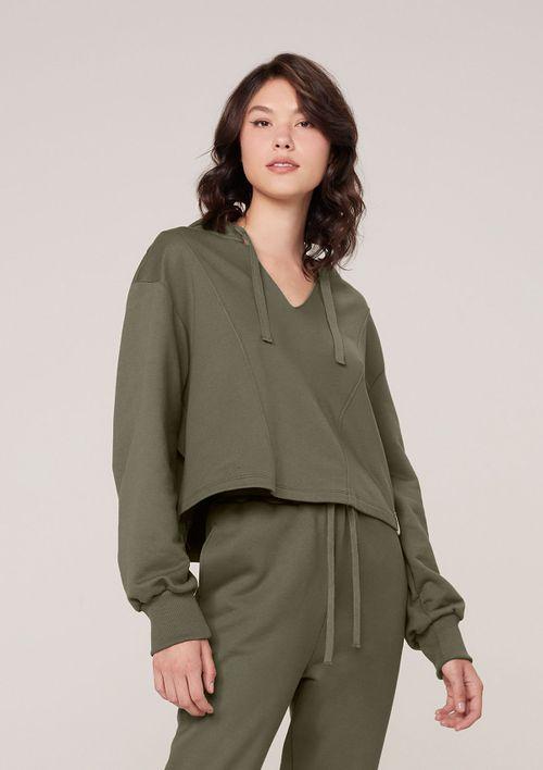 Blusão Moletom Com Decote V E Capuz - Verde