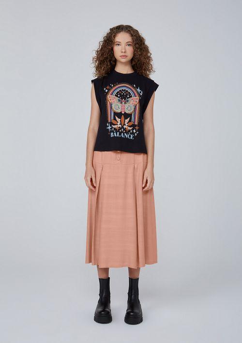 Camiseta Estampa Silk Em Meia Malha De Algodão - Preto