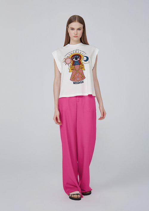 Camiseta Estampa Silk Em Meia Malha De Algodão - Off White