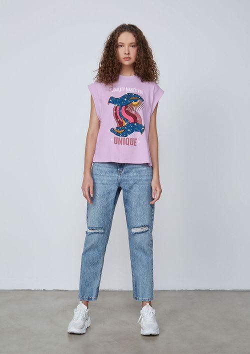Camiseta Estampa Silk Em Meia Malha De Algodão - Roxo