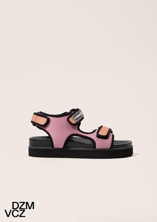 Sandália Papete Com Velcro Em Couro Vicenza - Rosa