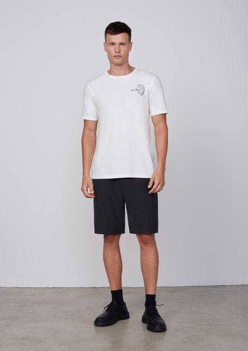 Camiseta Manga Curta Em Malha De Algodão - Off White