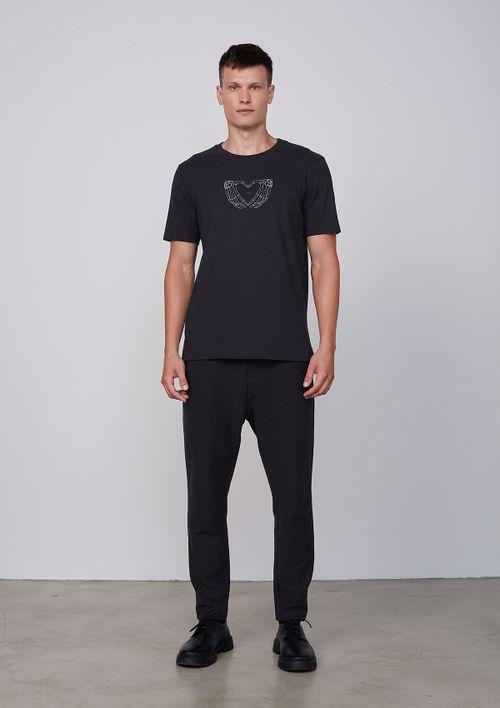 Camiseta Manga Curta Em Malha De Algodão - Preto