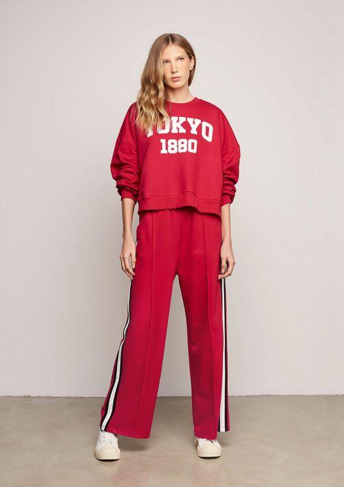 Calça Pantalona Com Recorte Frontal - Vermelho