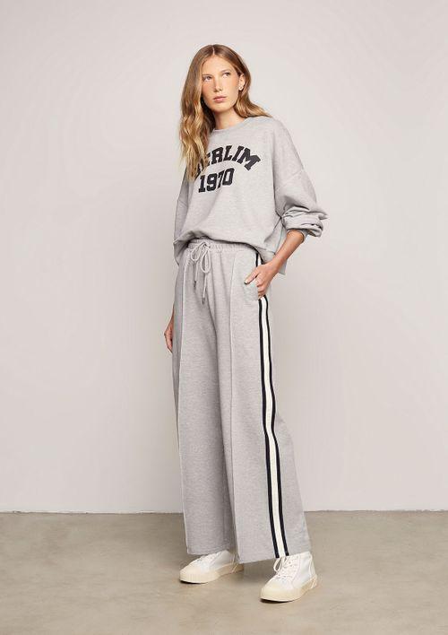 Calça Pantalona Com Recorte Frontal - Cinza