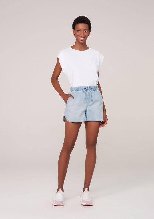 Shorts Cintura Alta Em Moletom Denim - Azul