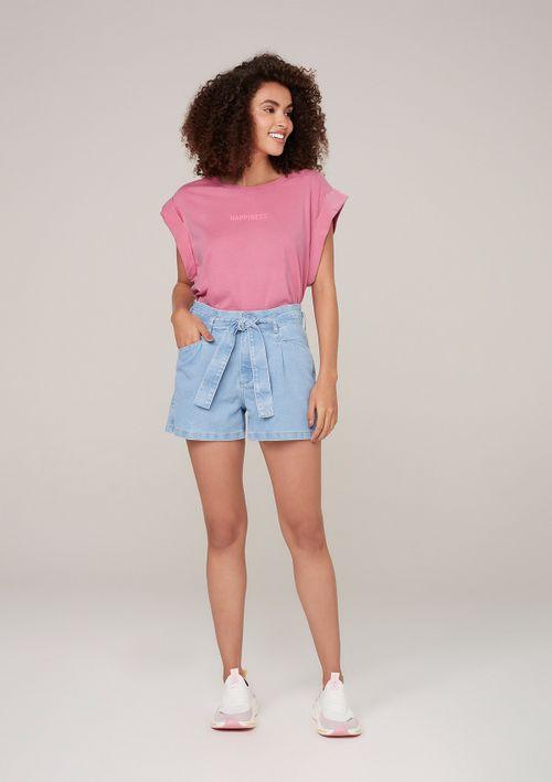 Shorts Jeans Cintura Alta Com Elastano - Azul