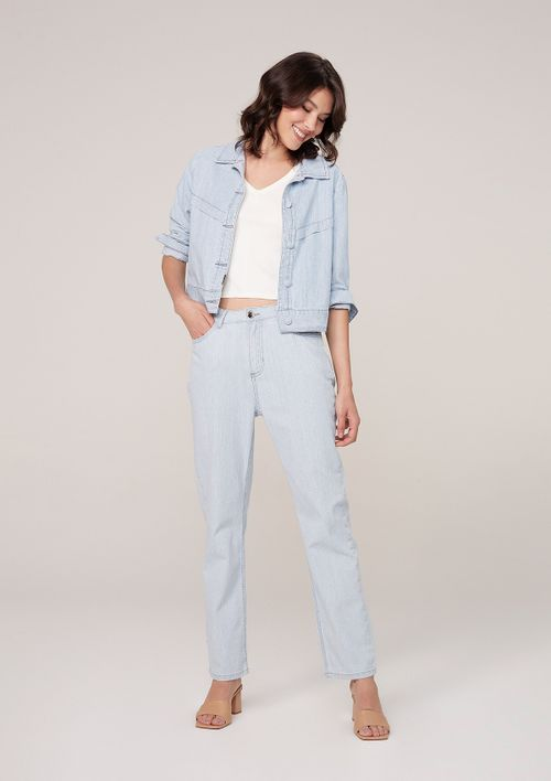 Jaqueta Jeans Cropped Em Listrado Denim - Azul