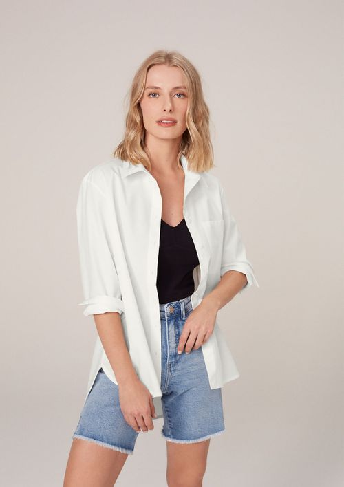 Camisa Alongada Em Tricoline - Off White