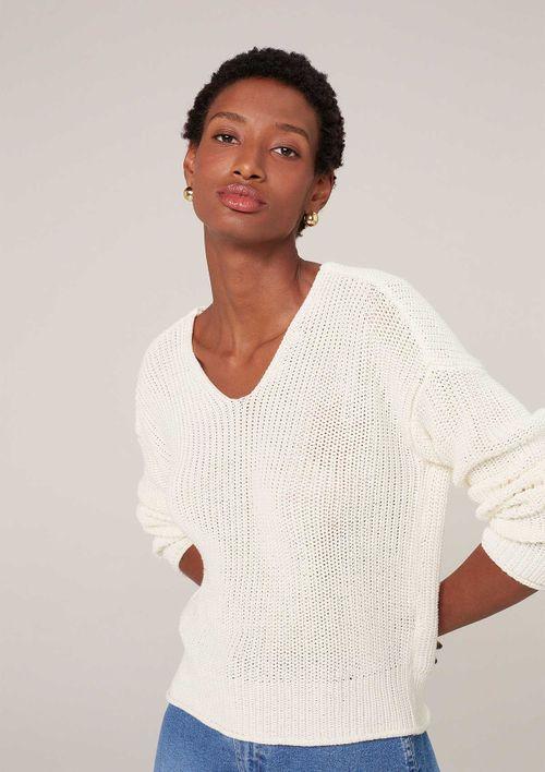 Suéter Regular Decote V Em Tricot - Off White