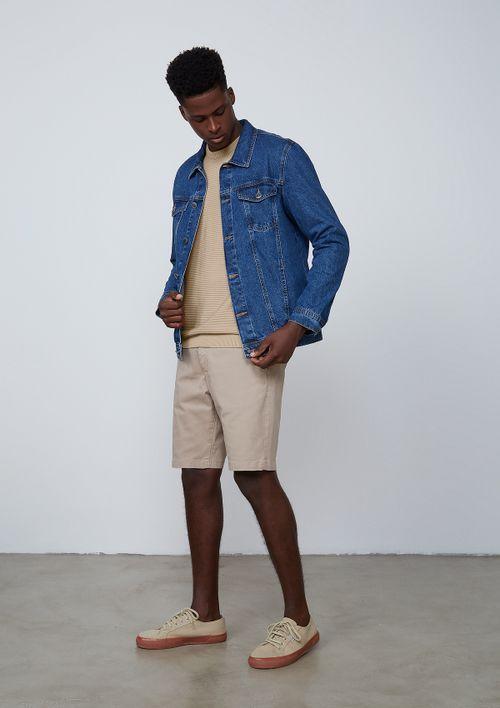 Jaqueta Masculina Trucker Em Jeans De Algodão - Azul