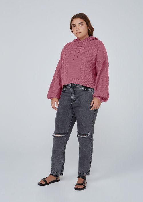 Blusão Com Capuz Em Tricô De Algodão - Rosa
