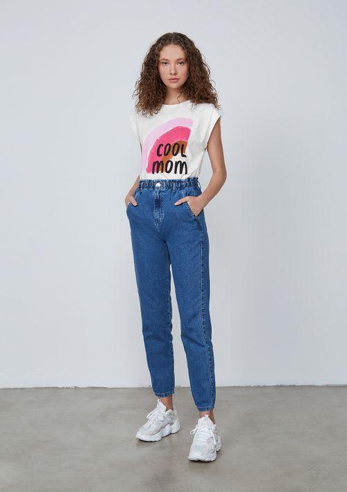 Calça Moletom Jeans Mom - Azul