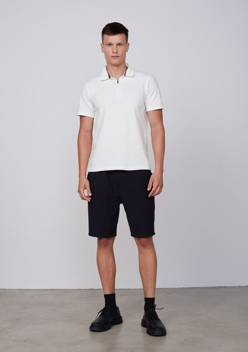 Camisa Polo Masculina Manga Curta - Off White
