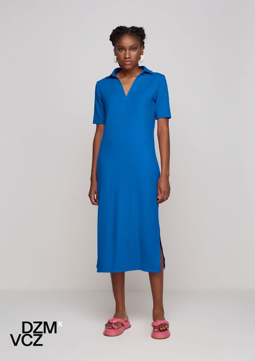 Vestido Midi Com Gola Polo Dzmxvcz - Azul