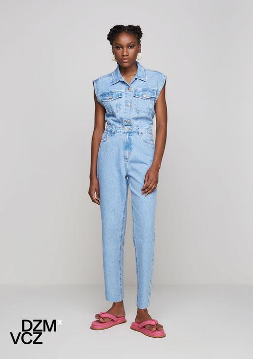 Calça Reta Feminina Jeans Dzmxvcz - Azul