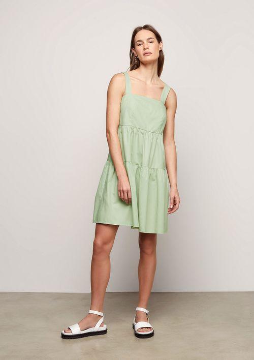 Vestido Evasê Em Tricoline - Verde