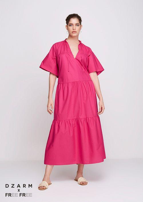 Vestido Evasê Midi Amplo - Rosa