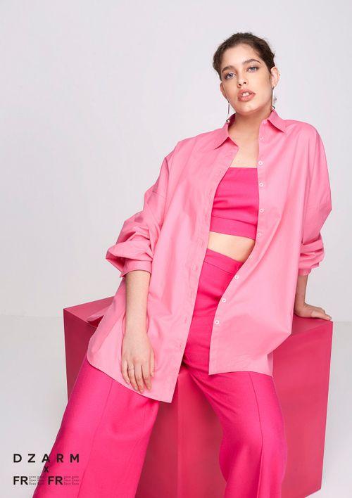 Camisa Oversized Em Tricoline - Rosa
