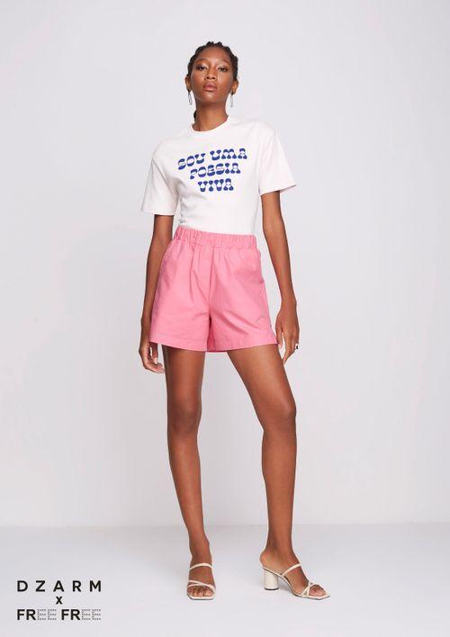Shorts Evasê Em Tricoline - Rosa